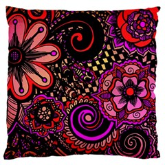 Sunset Floral Large Flano Cushion Case (one Side)