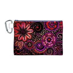 Sunset Floral Canvas Cosmetic Bag (M)