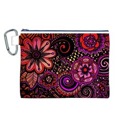 Sunset Floral Canvas Cosmetic Bag (L)