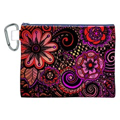 Sunset Floral Canvas Cosmetic Bag (xxl)