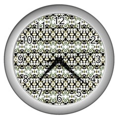 Abstract Camouflage Wall Clocks (Silver)