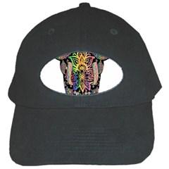Prismatic Floral Pattern Elephant Black Cap