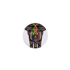 Prismatic Floral Pattern Elephant 1  Mini Magnets
