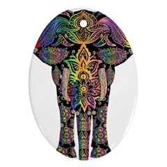 Prismatic Floral Pattern Elephant Ornament (Oval)