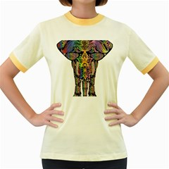Prismatic Floral Pattern Elephant Women s Fitted Ringer T Shirts