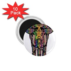 Prismatic Floral Pattern Elephant 1 75  Magnets (10 Pack)