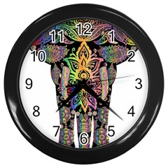 Prismatic Floral Pattern Elephant Wall Clocks (black)