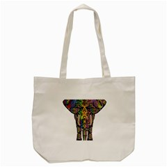 Prismatic Floral Pattern Elephant Tote Bag (cream)