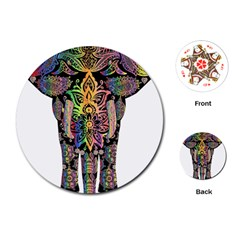 Prismatic Floral Pattern Elephant Playing Cards (Round)