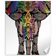 Prismatic Floral Pattern Elephant Canvas 8  x 10