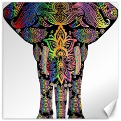 Prismatic Floral Pattern Elephant Canvas 12  x 12
