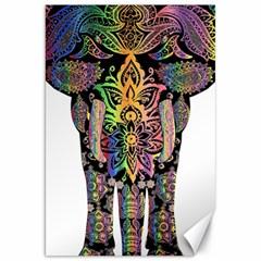 Prismatic Floral Pattern Elephant Canvas 20  x 30