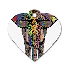 Prismatic Floral Pattern Elephant Dog Tag Heart (two Sides)