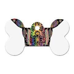 Prismatic Floral Pattern Elephant Dog Tag Bone (One Side)