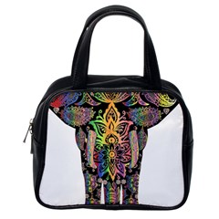 Prismatic Floral Pattern Elephant Classic Handbags (one Side)
