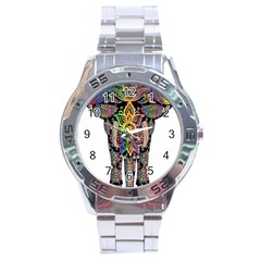 Prismatic Floral Pattern Elephant Stainless Steel Analogue Watch
