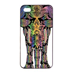 Prismatic Floral Pattern Elephant Apple Iphone 4/4s Seamless Case (black)