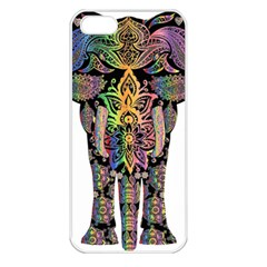 Prismatic Floral Pattern Elephant Apple Iphone 5 Seamless Case (white)