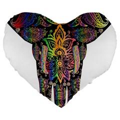 Prismatic Floral Pattern Elephant Large 19  Premium Heart Shape Cushions