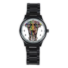 Prismatic Floral Pattern Elephant Stainless Steel Round Watch