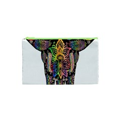 Prismatic Floral Pattern Elephant Cosmetic Bag (xs)
