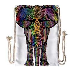 Prismatic Floral Pattern Elephant Drawstring Bag (Large)