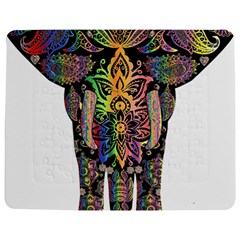 Prismatic Floral Pattern Elephant Jigsaw Puzzle Photo Stand (Rectangular)