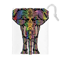 Prismatic Floral Pattern Elephant Drawstring Pouches (Extra Large)