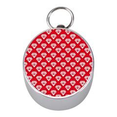 Diamond Pattern Mini Silver Compasses