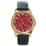 Merry Christmas Pattern Round Gold Metal Watch Front