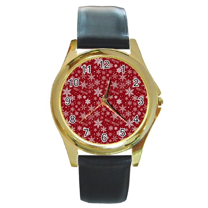 Merry Christmas Pattern Round Gold Metal Watch