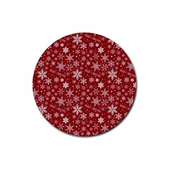 Merry Christmas Pattern Rubber Coaster (round)