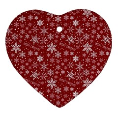 Merry Christmas Pattern Heart Ornament (Two Sides)