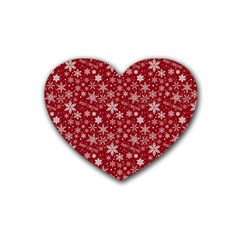 Merry Christmas Pattern Heart Coaster (4 pack)