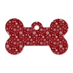 Merry Christmas Pattern Dog Tag Bone (Two Sides)