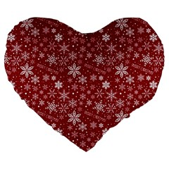 Merry Christmas Pattern Large 19  Premium Heart Shape Cushions
