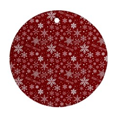 Merry Christmas Pattern Ornament (Round)