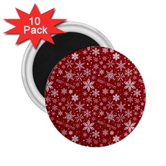 Merry Christmas Pattern 2 25  Magnets (10 Pack)