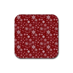 Merry Christmas Pattern Rubber Square Coaster (4 Pack)