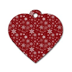 Merry Christmas Pattern Dog Tag Heart (Two Sides)