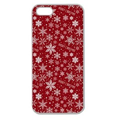 Merry Christmas Pattern Apple Seamless Iphone 5 Case (clear)