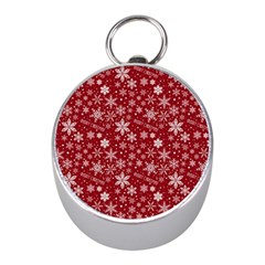 Merry Christmas Pattern Mini Silver Compasses