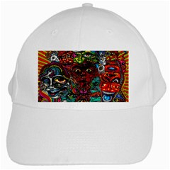 Abstract Psychedelic Face Nightmare Eyes Font Horror Fantasy Artwork White Cap