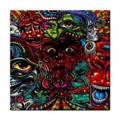 Abstract Psychedelic Face Nightmare Eyes Font Horror Fantasy Artwork Tile Coasters