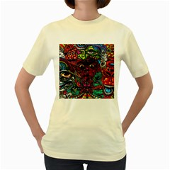 Abstract Psychedelic Face Nightmare Eyes Font Horror Fantasy Artwork Women s Yellow T Shirt