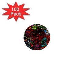Abstract Psychedelic Face Nightmare Eyes Font Horror Fantasy Artwork 1  Mini Buttons (100 Pack)