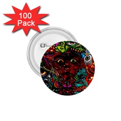 Abstract Psychedelic Face Nightmare Eyes Font Horror Fantasy Artwork 1.75  Buttons (100 pack)