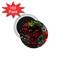 Abstract Psychedelic Face Nightmare Eyes Font Horror Fantasy Artwork 1.75  Magnets (100 pack)