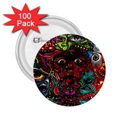 Abstract Psychedelic Face Nightmare Eyes Font Horror Fantasy Artwork 2.25  Buttons (100 pack)
