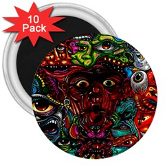 Abstract Psychedelic Face Nightmare Eyes Font Horror Fantasy Artwork 3  Magnets (10 pack)